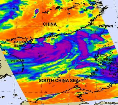 NASA sees heavy rainfall on southern side of Tropical Depression Haima as it nears Hong Kong