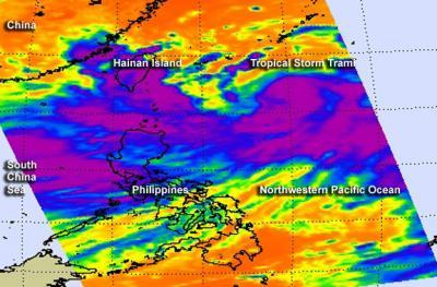 Tropical Storm Trami and monsoon rains causing flooding in the Philippines