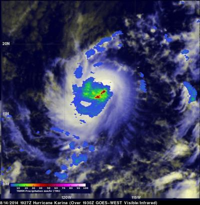 NASA sees Tropical Storm Karina get a boost