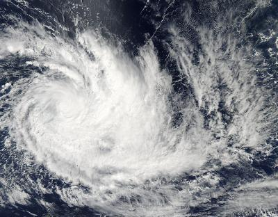 Cyclone Imelda turned the corner on NASA Aqua satellite imagery