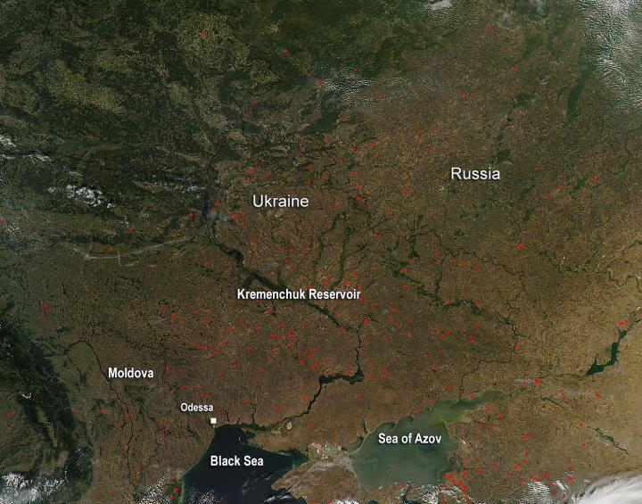Agricultural fires in the Ukraine