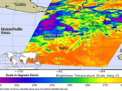 NASA sees bitter cold cloud tops in newborn Tropical Storm Carlotta