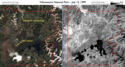 Landsat satellites track Yellowstone's underground heat