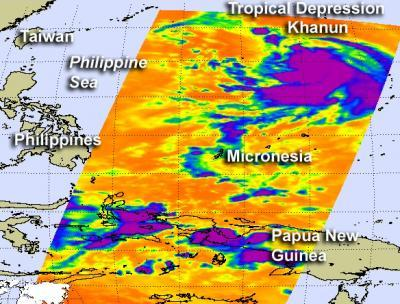 NASA satellite sees strengthening in Tropical Cyclone Khanun