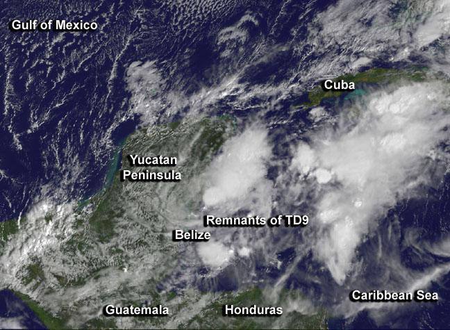 Satellite catches lingering remnants of Tropical Depression 9