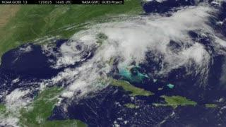 Debby now exiting Florida's east coast, disorganized on satellite imagery