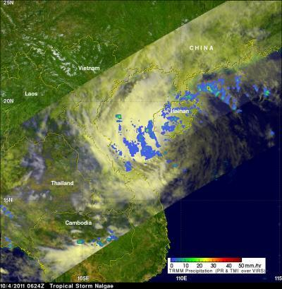 NASA eyes light rainfall in dissipating tropical depression Nalgae