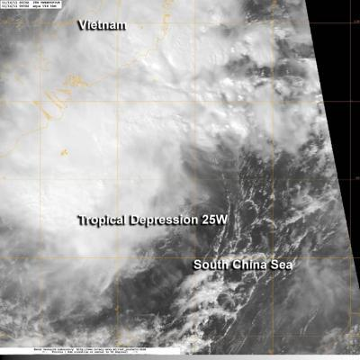 NASA satellite sees newborn Tropical Depression 25W raining on southern Vietnam
