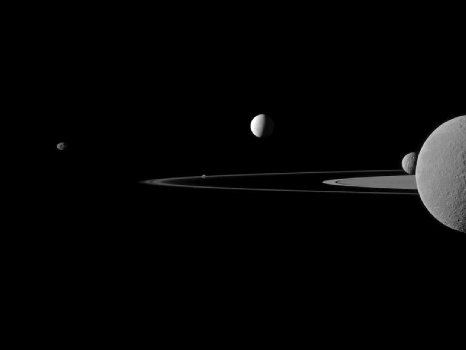 Cassini's view of 5 Saturn moons at once